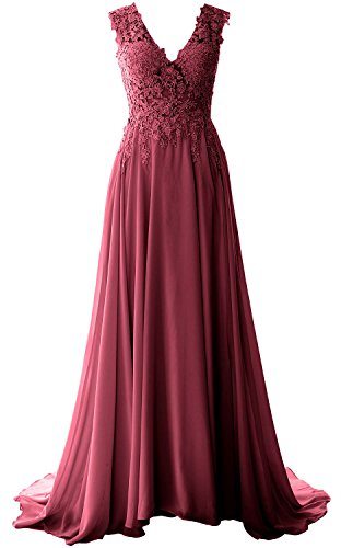 MACloth Elegant V Neck Long Prom Dress Vintage Lace Chiffon Formal Evening Gown (8, Wine Red)