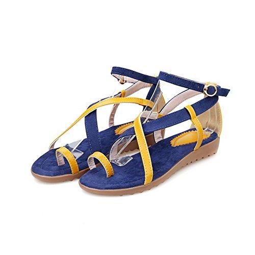 Allhqfashion Mujeres Blend Materials Surtido De Hebilla De Color Open Toe Low-heels Sandals Blue
