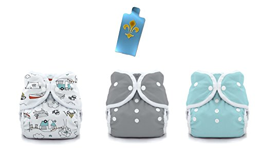 Thirsties Duo Wrap Snaps Diaper Covers 3 pack Combo: Happy Camper, Fin (Gray), Aqua Sz 2