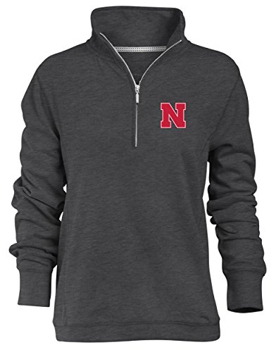 aska Cornhuskers Relaxed Quarter Zip Pullover, Charcoal, Small ()