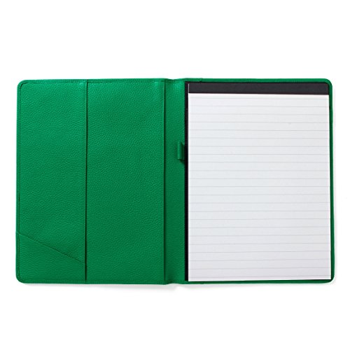 Green Padfolio (Leatherlogy Standard Padfolio with Pen Loop - Full Grain Leather - Kelly Green (green))