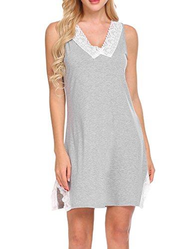 MAXMODA Women Sleeveless Side Slit Lace-Trimmed Hem Patchwork Night Dress (Gray S)