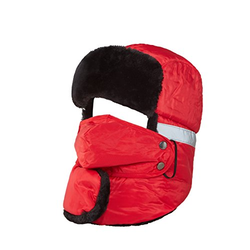 Cabf Winter Hat, Warm Hat, Trooper Trapper Hat with Reflective Strip and Windproof Mask, Unisex and thickened style. (Red)