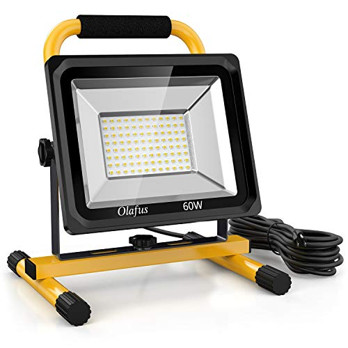 Olafus 60W LED Work Lights (400W Equivalent), 6000LM, 2 Brightness Modes, IP65 Waterproof Job Site Lighting with Stand for Construction Site, Jetty, Workshop, Garage 5000K Daylight White
