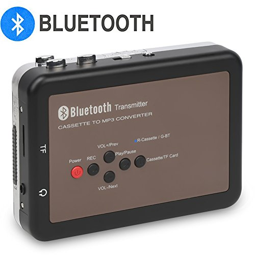 DigitNow! Portable Digital Bluetooth Cassette Audio Music Player Tape-To-MP3 Converter and Cassette Recorder with Earphones(Please Note:Long Press Power Key Around 5 Seconds To Power on) (Reverse Cassette Player Auto With)