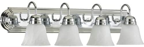 4 Light Vanity Light Bulb 100 Watt, Finish Chrome, Shade Color White Faux Alabaster Glass