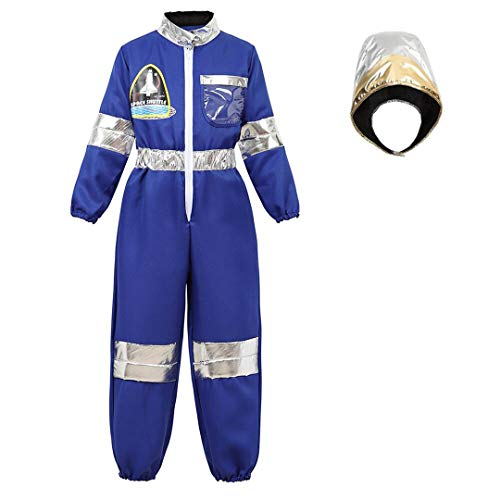 Astronaut Costume for Kids Dress Up Jumpsuit for Boys Girls Halloween Costume Children's Role Play Spaceman Suit Set Blue-2XL -