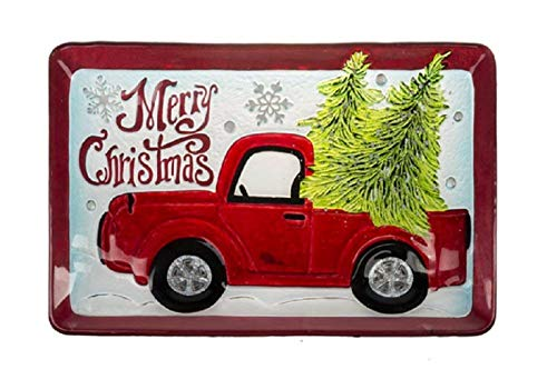 Ganz Santa's Ride Rectangular Glass Platter,Color: Multi
