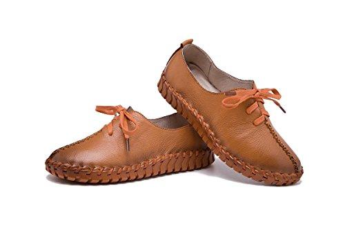 antiscivolo Genuine Strappy di pantaloni Pompe Round singole Brown Leather per tempo Nuovi libero Primavera Scarpe Donne Soft Bottom testa moda Primavera il ZUwfnq