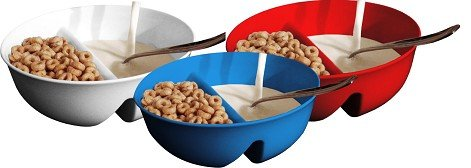 Anti-Soggy Cereal Bowl - Keeps Cereal Fresh and Crunchy | BPA Free | Microwave Safe | For Ice Cream & Topping, Yogurt & Berries, Fries & Ketchup and More – Red, White & Blue ()