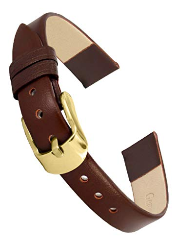 - Doon Brown Leather Watch Band, Pin Clasp, 16mm Strap
