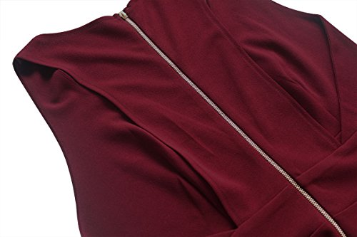 Summer Women's A-Line Sleeveless Deep V-Neck MIDI Dress (M, Burgandy) by YOOHOG (Image #5)
