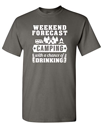 Weekend Forecast Camping Drinking Funny DT Adult T-Shirt Tee