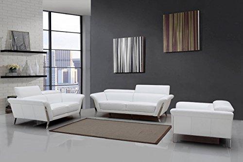 Divani Casa Ronen Modern White Leather Sofa Set White/White Part 54
