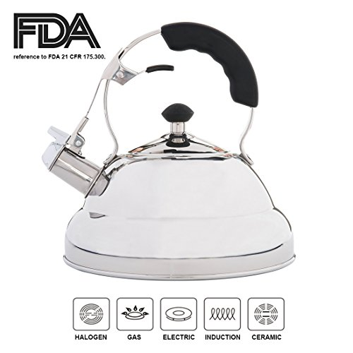 Gourmandism Whistling Tea Kettle - 18/8 Stainless Steel Stov
