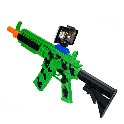 Merkmak AR Gun Games Bluetooth Plastic Toys with Phone Holder for Iphone Android Smart Phone(Army Green)