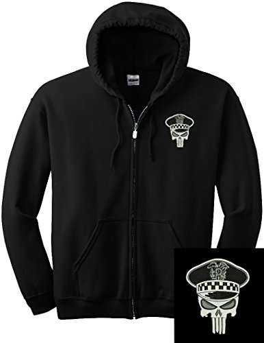 Chicago Police Punisher Full Zip Sweatshirt w/ Left Chest Embroidery 9126 (Large) (Embroidered Gildan Sweatshirt)