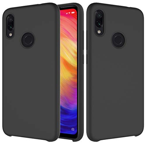 Jiangym Mobile Phone Soft Cases Solid Color Liquid Silicone Dropproof Protective Case for Xiaomi Redmi Note 7(Black) Soft Cases (Color : Black)