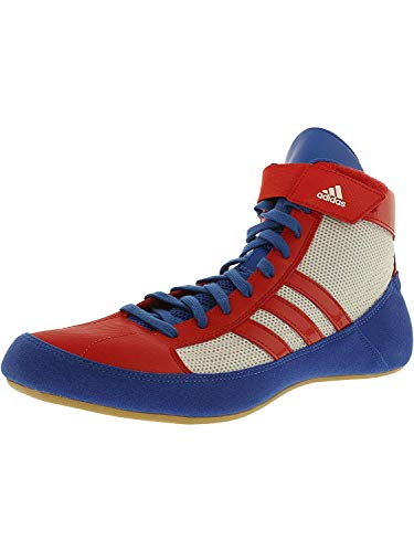 7d0726286f25b adidas Men's HVC Blue/Vivid Red FTW White High-Top Wrestling Shoe - 12M
