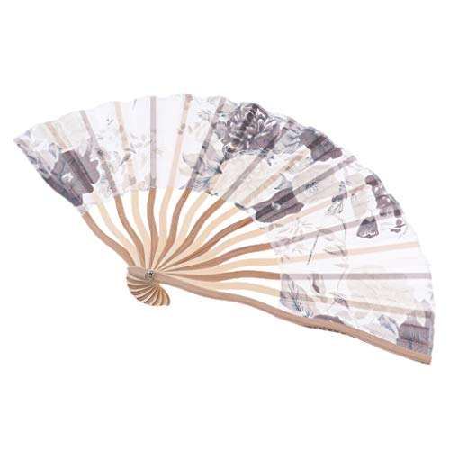 Agordo Chinese Folding Bamboo Hand Fan Durable Handheld Fabric Fan Wedding Party |Color - Gray