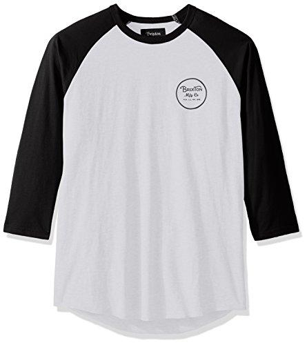 Brixton Men's Wheeler 3/4 Sleeve Tee, White/black, Medium