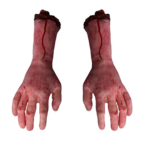 (Mayin 1 Pair Fake Human Severed Arm Hands Bloody Dead Body Parts for Halloween decorations Party Favors Cosplay)