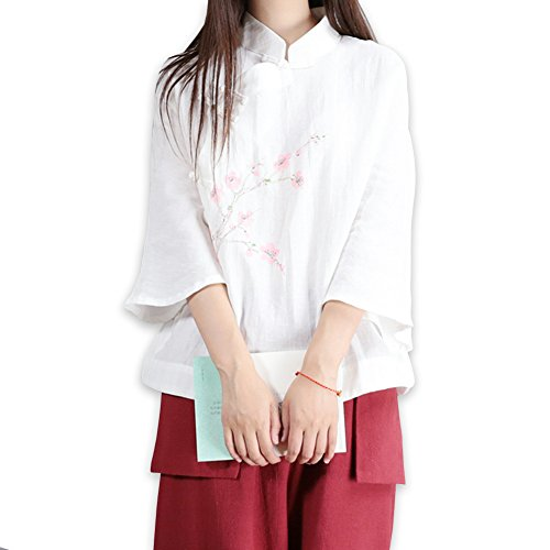 Quilted Frog (YOUMU Lady Girls Vintage Linen Shirt Chinese Traditional Mandarin Frog Button Blouse Top)