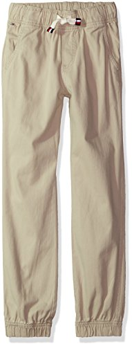 Tommy Hilfiger Boy's Pull On Twill Stretch Jogger Pant, Light Stone, 5
