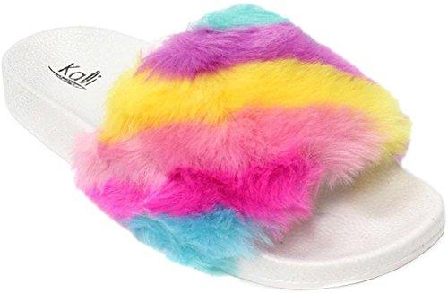Kali Footwear Womens Slip on Flip Flop Faux Fur Slide Soft Limit (10 B(M) US, Rainbow)