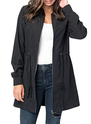 Suede Two Pocket Coat - Blibea Womens Fall Jackets Casual Long Zipper Suede Lightweight Coat Outwear Windbreaker Medium Black
