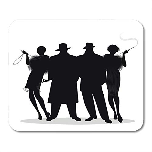 Emvency Mouse Pads 1920S Silhouettes of Two Men and Flapper Girls 20S Roaring Twenties Speakeasy Mousepad 9.5