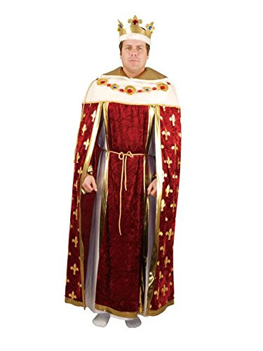 Charades Men's King's Robe Costume and Crown, Burgundy -