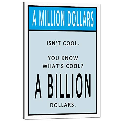 Yatsen Bridge Money Motivational Quote Wall Art for Office Decoration Modern Million Dollars Entrepreneur Inspirational Motto Canvas Artwork with Wooden Frame Ready to Hang - 12''Wx18''H (Million Dollars Money Frame)