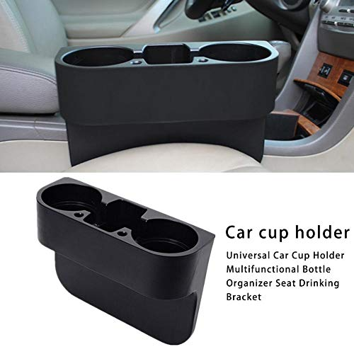 (Multifunctional Universal Car Cup Holder Inserts Images Bottle Organizer Seat Back Drinking Bracket Car Seat Wedge Water Bottle Double Cup Holder Cellphone Holder (Black))