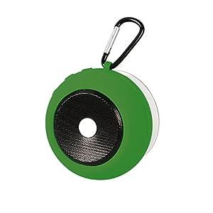 Ascar Waterproof Bluetooth Wireless Speaker | Portable Water Resistant Shower Speakerphone With Built-In Hook, Powerful Suction & Magnet | Ultimate Rechargeable Audio Soundbot (Green)