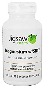 Jigsaw Magnesium w/SRT - Premium, Organic, Slow Release Magnesium Supplement - Active, Bioavailable Magnesium Malate Tablets With B-Vitamin Co-Factors, 240 Tablets