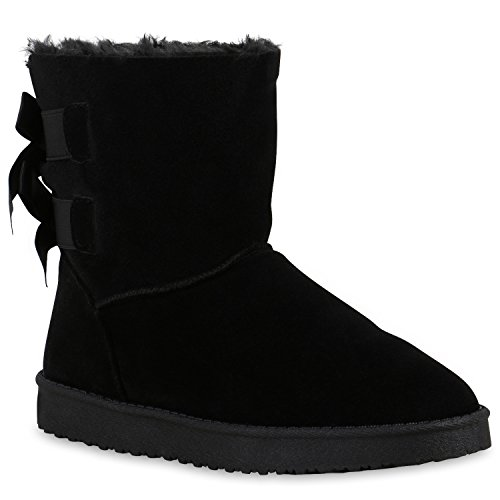 Damen Schlupfstiefel Warm Gefütterte Stiefel Stiefeletten Winter Boots Bommel Pailletten Glitzer Snake Print Schuhe Flandell Schwarz