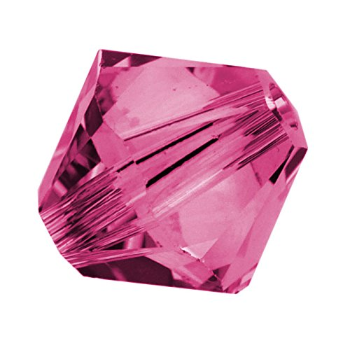 Swarovski Crystal, #5328 Bicone Beads 4mm, 24 Pieces, (Fuchsia Bicone)