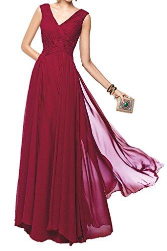 Charm Bridal Long Chiffon V-neck Women Summer Evening Bride's Mother Prom Dress -26W-Dark Red by Charm Bridal