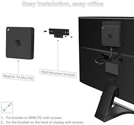 Beelink T4 Mini PC Windows 10 Quad Core Intel Atom x5-Z8500 Mini Desktop Computer DDR4 4GB RAM 64GB, 2.4G/5G WiFi, Gigabit Ethernet, USB 3.0, BT4.0, 4K HDIM&DP Dual Display Support Auto Power On