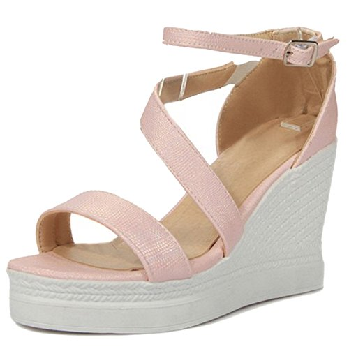 Ankle Women TAOFFEN Wedge Strap Sandals Shoes Heel Comfort Pink Buckle High dSqZYS