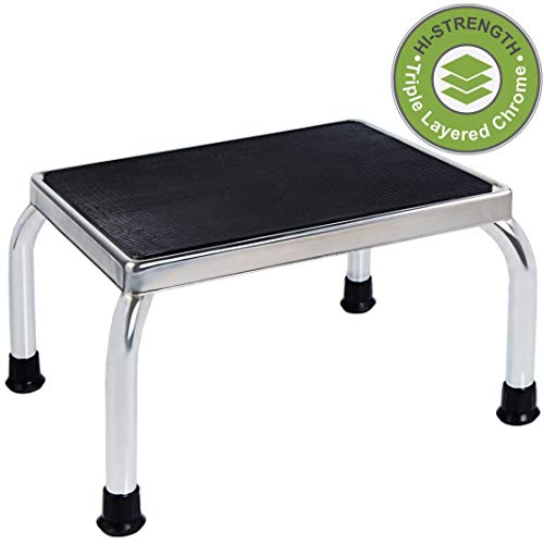 Drive Footstool - Medical Foot Step Stool with Anti-Skid Rubber Platform, Lightweight and Sturdy Chrome Stool for Children and Adults