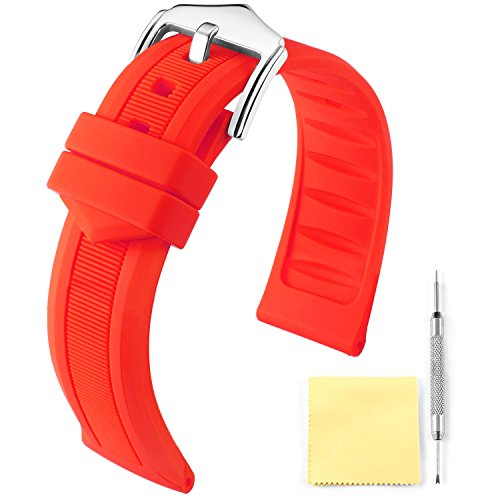 (Silicone Rubber Watch Band Smart Watch Strap Color(White, Red, Black, Blue, Orange) Size(12mm,14mm,16mm,18mm,19mm,20mm,21mm,22mm,24mm))