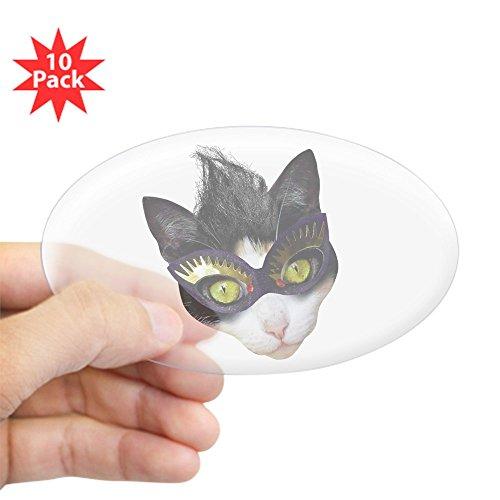 CafePress - Masked Cat - Oval Sticker (10-Pack), Bumper Sticker, Car Decal, Euro Oval