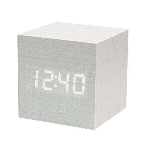 Powstro clock Modern Wooden Cube Design Digital LED Desk Alarm Clock Voice Control Thermometer Timer Calendar