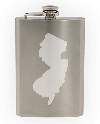 State of New Jersey Etched 8oz Stainless Steel Flask