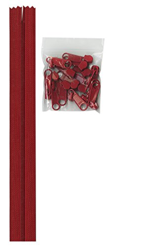 ByAnnie Zippers by Yard, Hot Red - Zipper Red