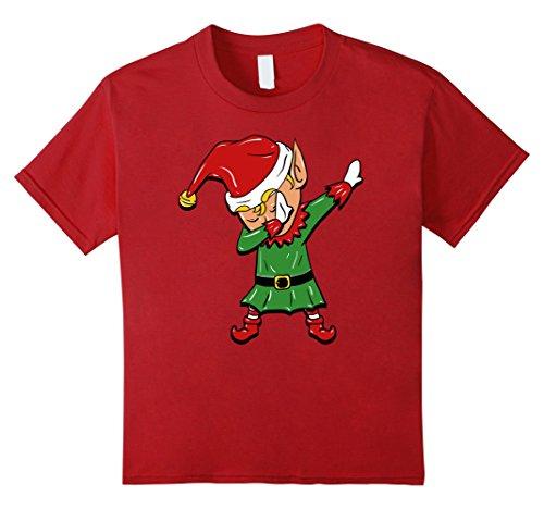 Dance Costumes Com (Kids Dabbing Elf T-Shirt - Funny Christmas Elf Costume 6 Cranberry)