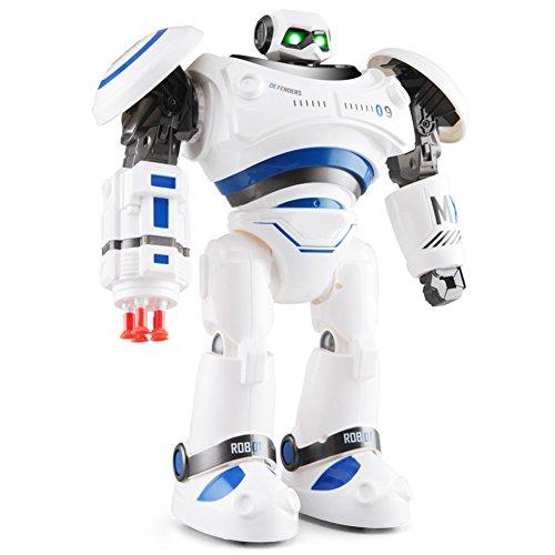 image Par RC Robot Jouet Robot Intelligent Télécommande Radiocommande Interactif Robotique Enfant Danse Glisser Raconter Histoire Programmation avec LED Lumières Jouet Cadeau Bleu