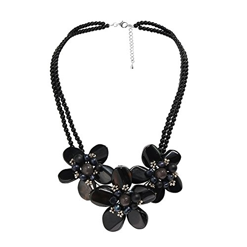 Silver Sterling Flower Agate (AeraVida Cultured Freshwater Pearl Center Triple Reconstructed Black Agate Flower .925 Sterling Silver Necklace)